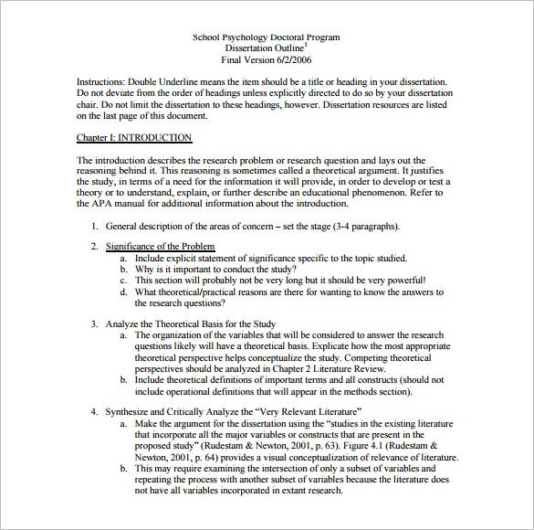 Dissertation outline template 10 free sample example format free sample dissertation outline template download altavistaventures Choice Image