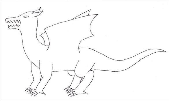 free sample dragon body outline template for kids