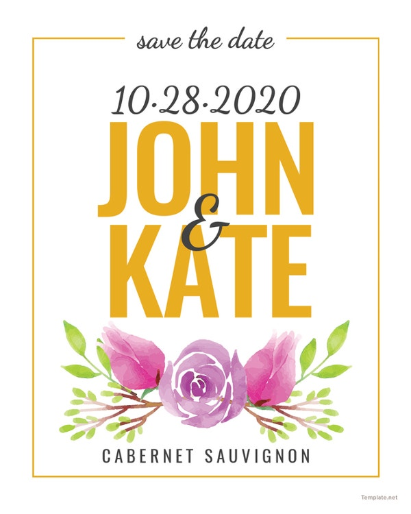 free save the date wine label