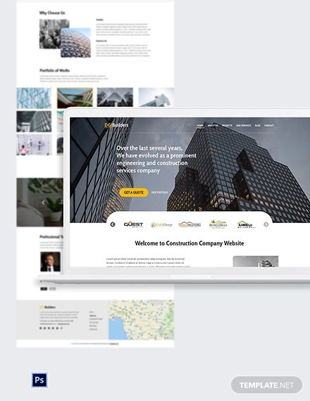 free simple construction website template