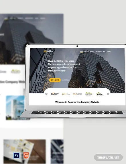 free simple construction website