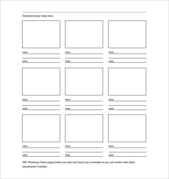7 movie storyboard templates doc excel pdf ppt for Printable film strip template