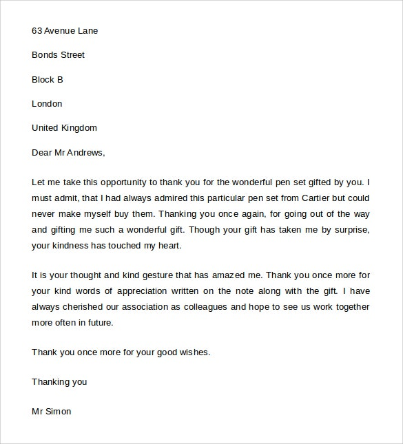 Thank You Letter For Gift   Free Word Excel Pdf Format Download