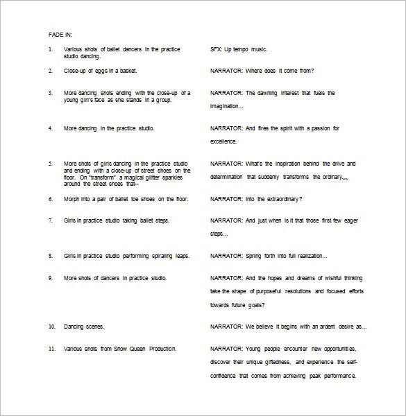 script outline template 9 free word excel pdf format download