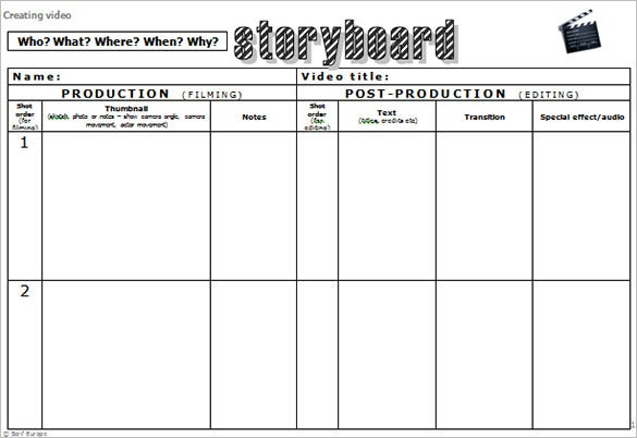 Video Storyboard Template Free Storyboard Sample Sample Free