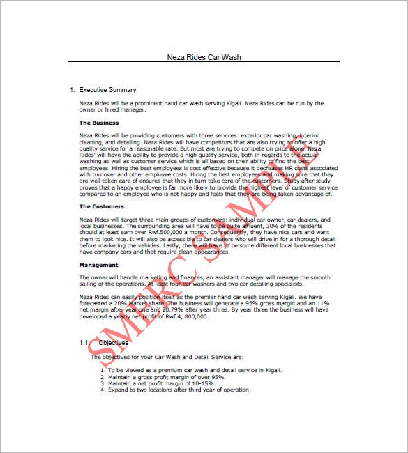 Car Wash Business Plan Template   Free Word Excel Pdf Format