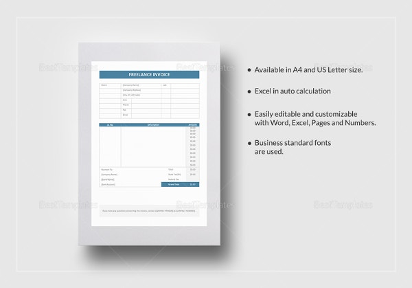 Freelancer Invoice Templates Free Word Excel PDF Format - Pages invoice templates