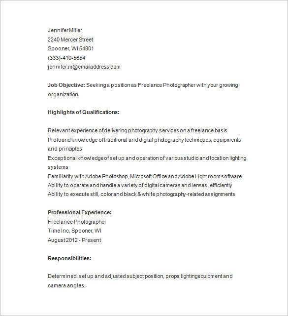 freelance photographer resume template - Freelance Photographer Resume