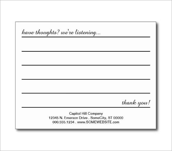 Customer Comment Card Template Customer Comment Card