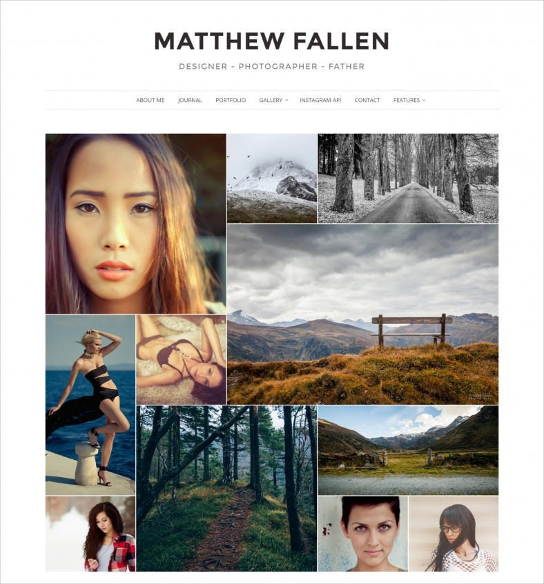 Full Width Gallery Photography WordPress Theme