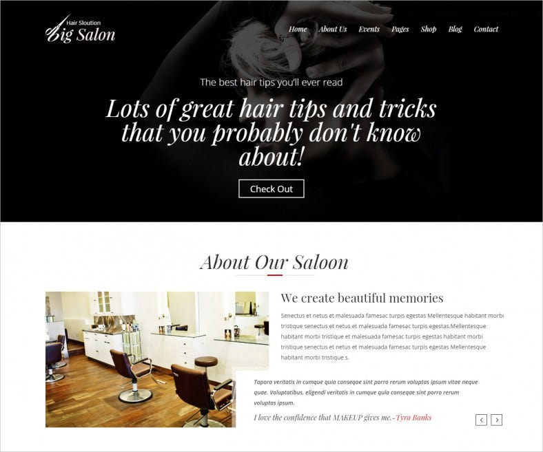 Full Width Website Template for Hairdressers, Barber Shops