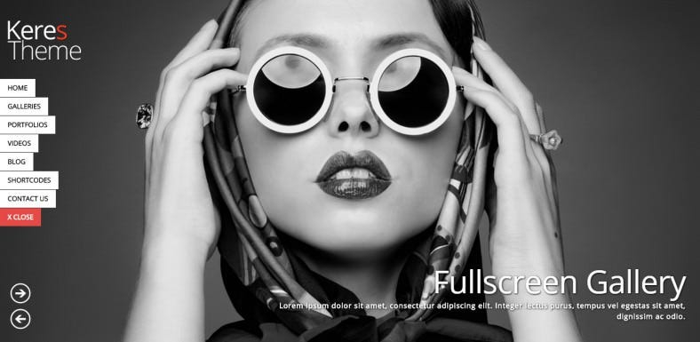 Fullscreen Photography Portfolio WordPress Theme