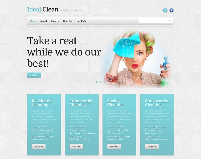 Fully Editable Cleaning Responsive WordPress Theme