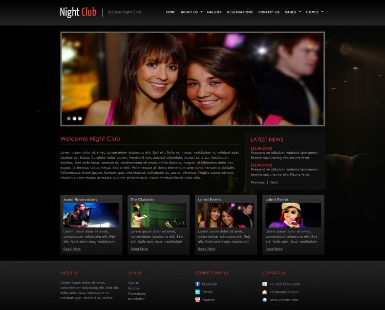 Fully Editable Website Template For Party Night Free Demo