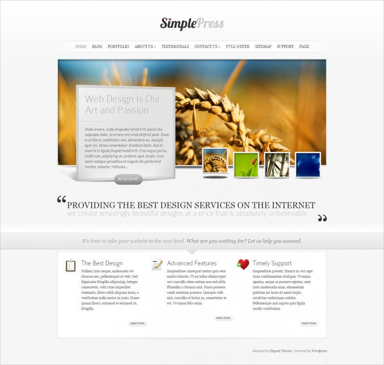 Fully Functional Simple Blog WordPress Theme