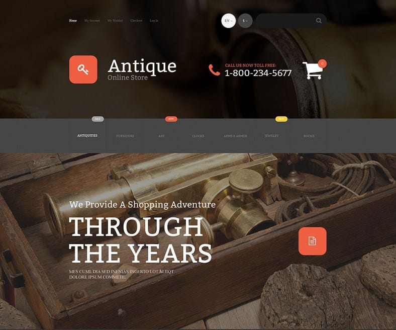 Fully Responsive Antique Store Magento Theme