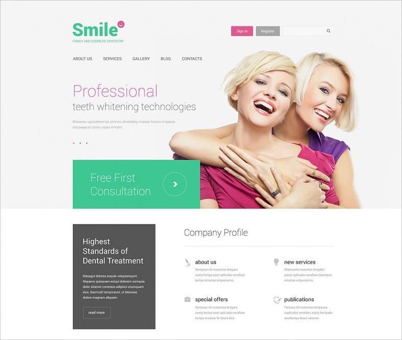 fully responsive family dentistry drupal template 788x666