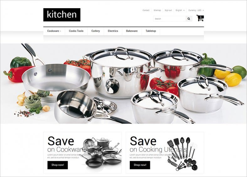 Fully Responsive Kitchen Supplies Store PrestaShop Theme