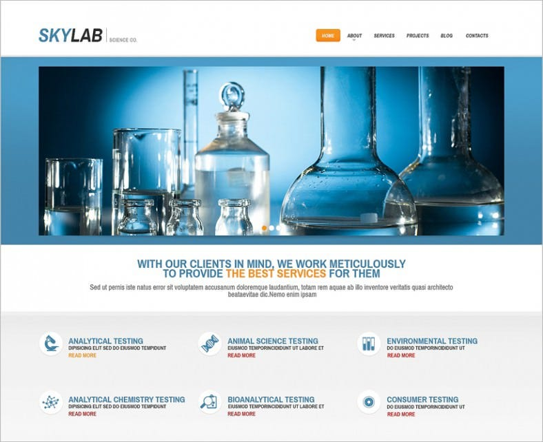 fully responsive multi purpose wp theme for science lab 788x642