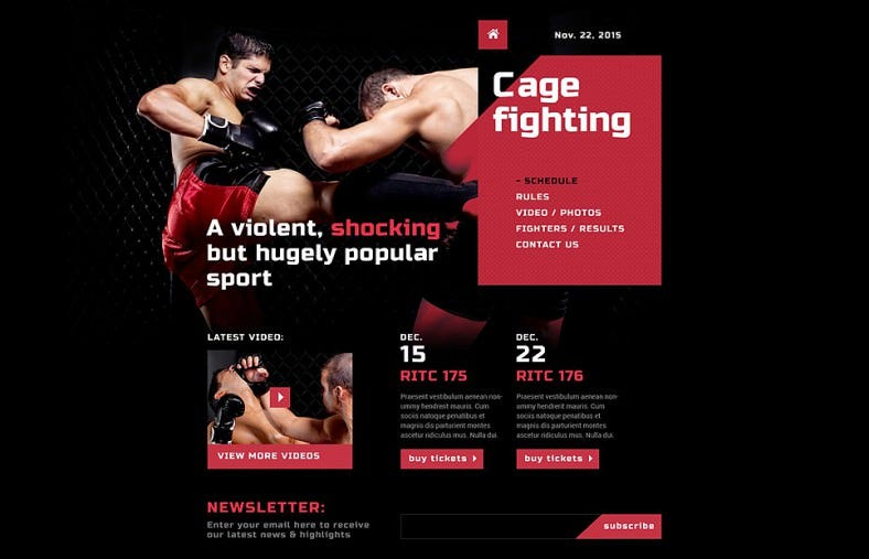 Fully Responsive Sports Dark Website Template