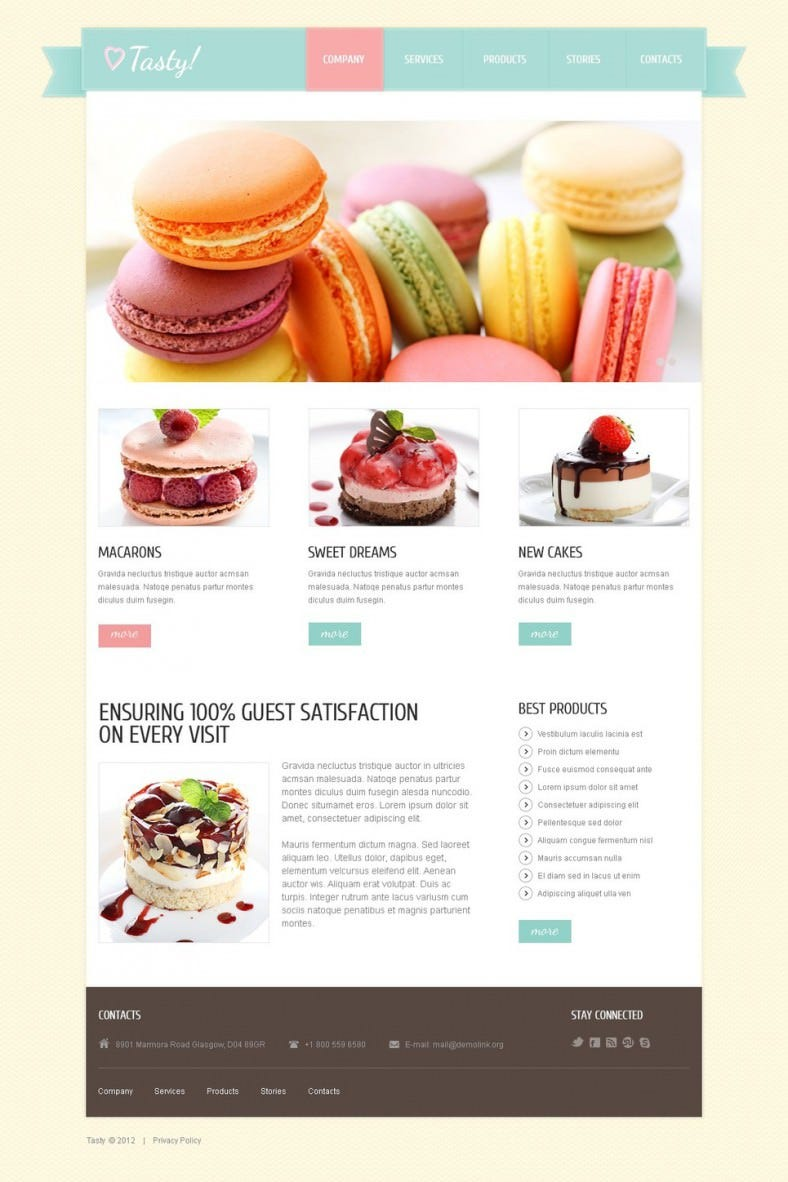 Fully Responsive Sweet Shop Joomla Template