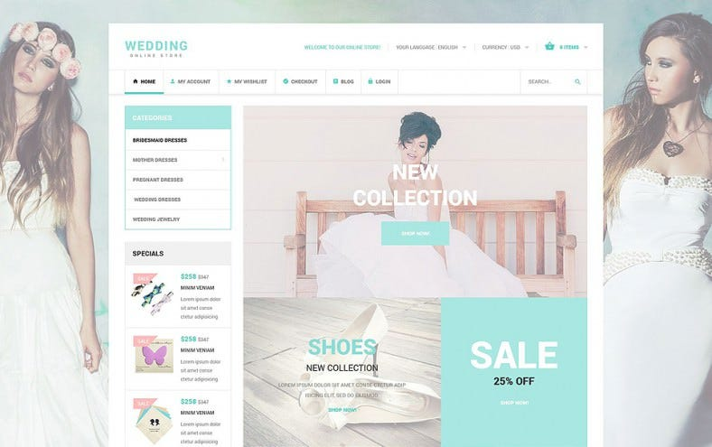 Fully Responsive Wedding Accessories osCommerce Template