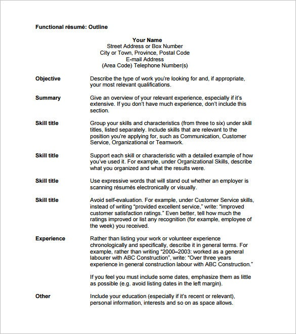 resume outline template 12 free sample example format With functional resume outline
