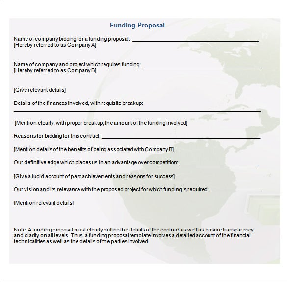 Sample Funding Proposal Free Download  Business Funding Proposal Template
