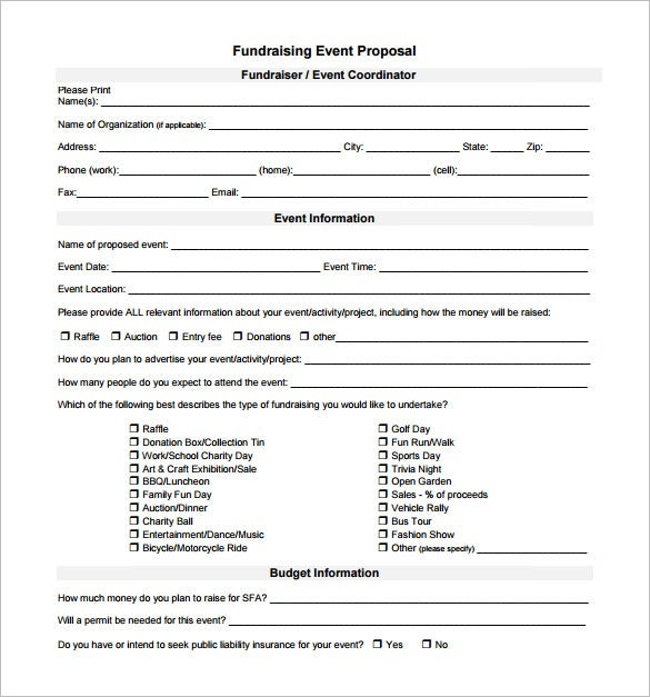 Example Fundraising Event Proposal Download  Proposal For Event