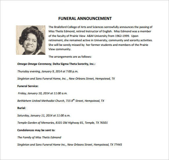 Funeral Templates | Funeral Announcements Samples