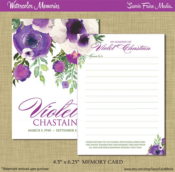 Funeral obituary template 25 free word excel pdf psd for Funeral memory cards free templates