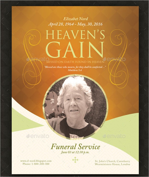 funeral memorial program template download