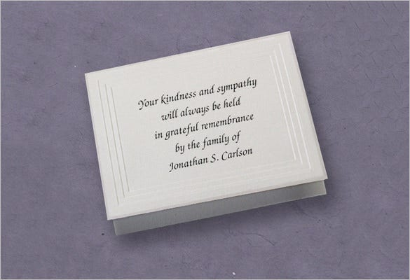 funeral memorial thank you card template