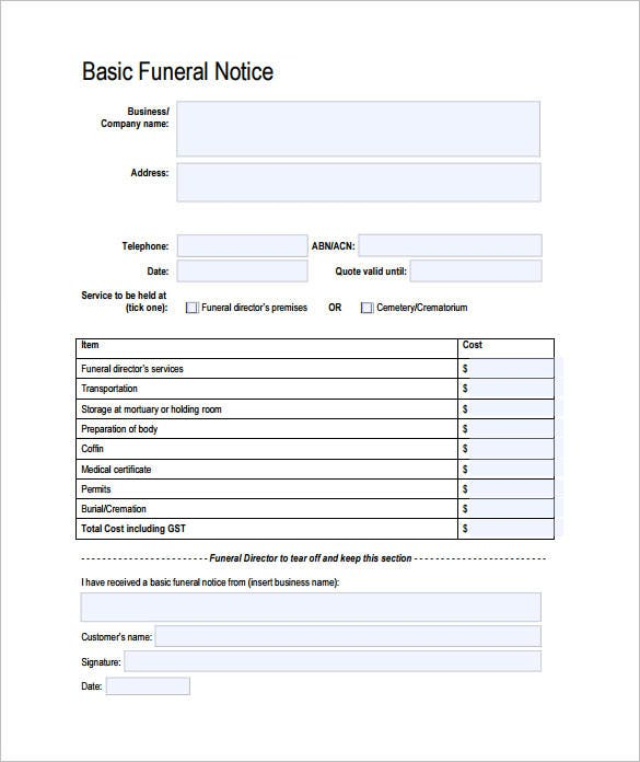 funeral notice template pdf download