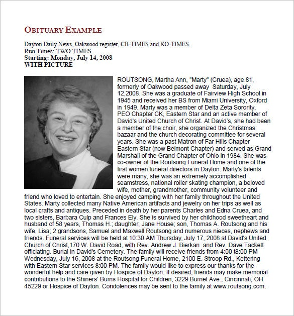Free Obituary Templates 13 Free Word Excel PDF Format – Free Funeral Templates Download