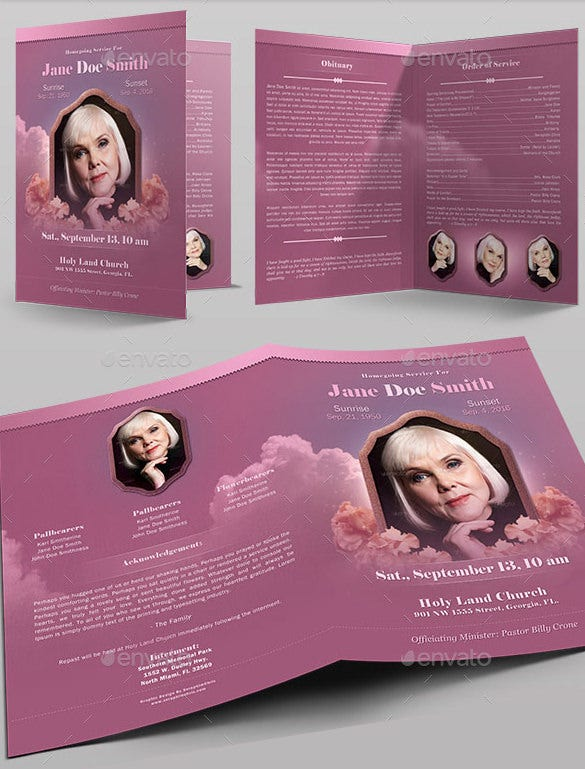 funeral program full page bi fold template