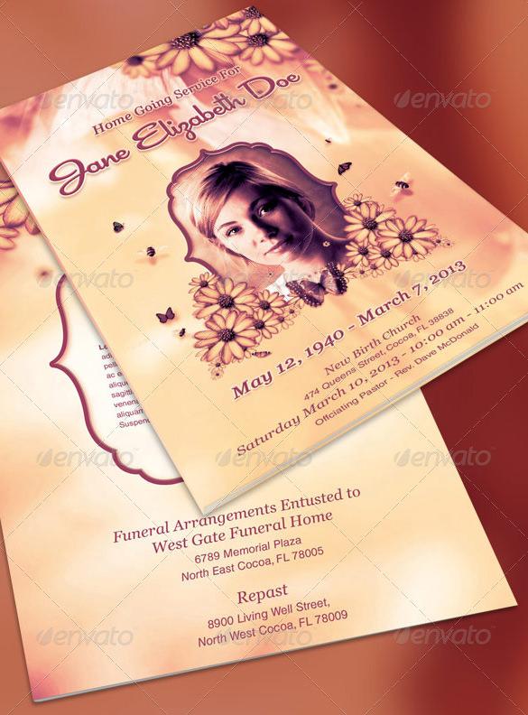 funeral program template bundle psd