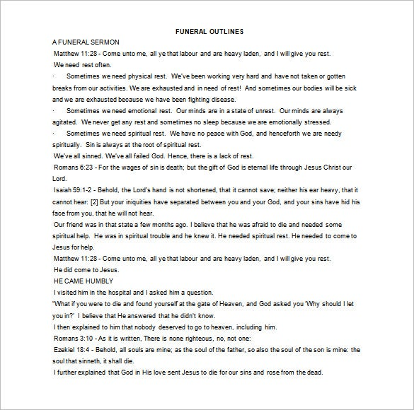Sermon Outline Template - 9+ Free Sample, Example, Format Download