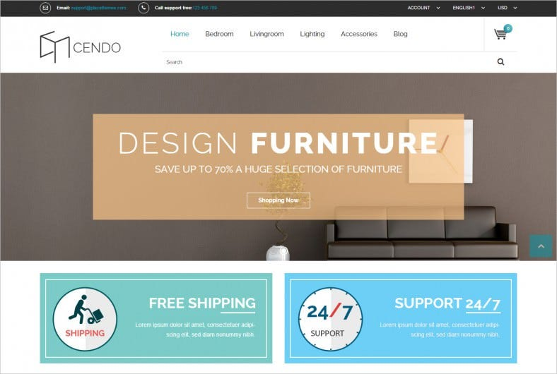 Furniture Magento Template with Advanced Admin Module