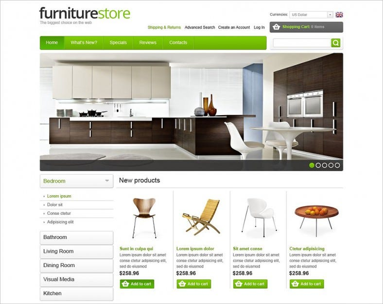 furniture store oscommerce template 788x626