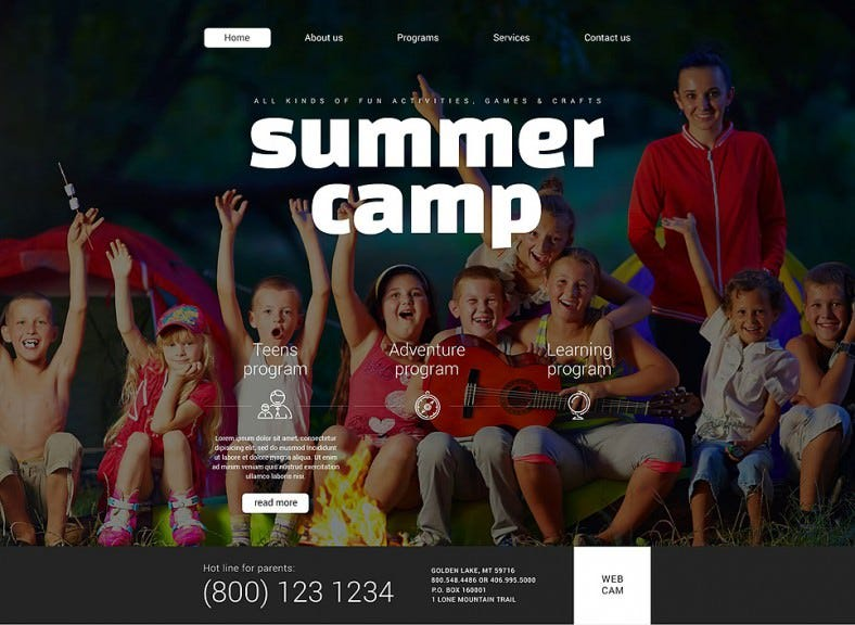 Games & Summer Camps HTML5 Website Template