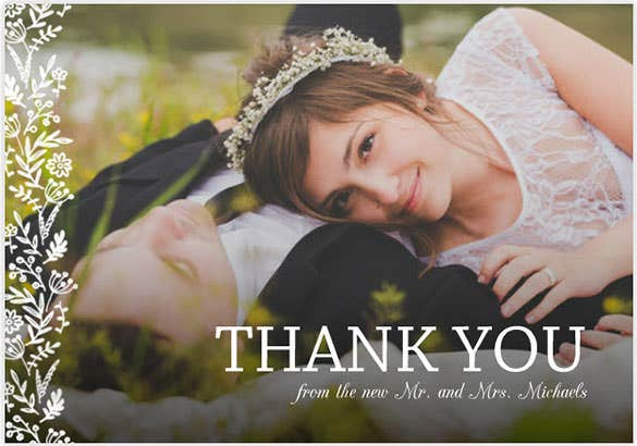 Garden Wedding Photo Thank You Card Template