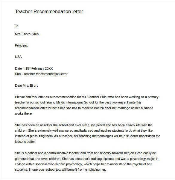 generic letter of recommendation for teacher