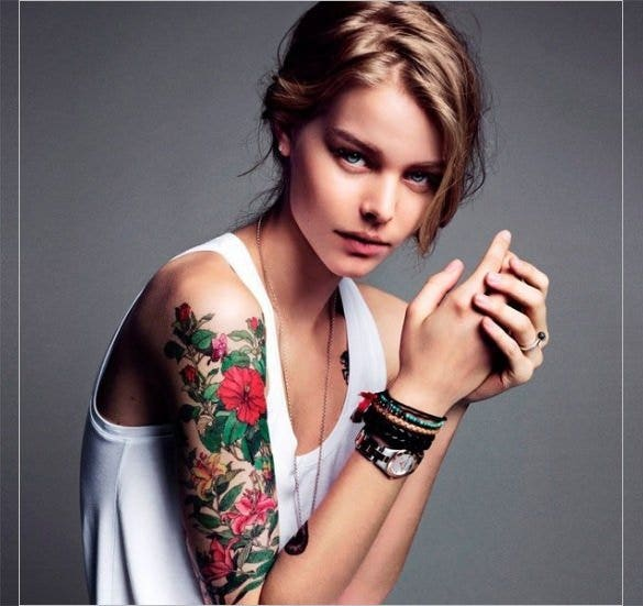 girl with flower tattoo on sleeve1
