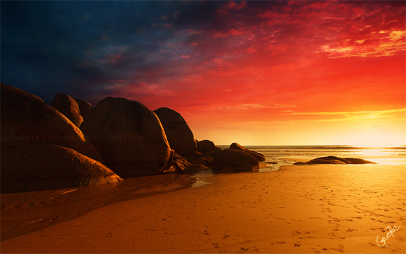 glorious beach fiery background for free
