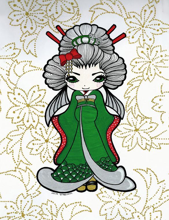 glorious geisha illustration patern
