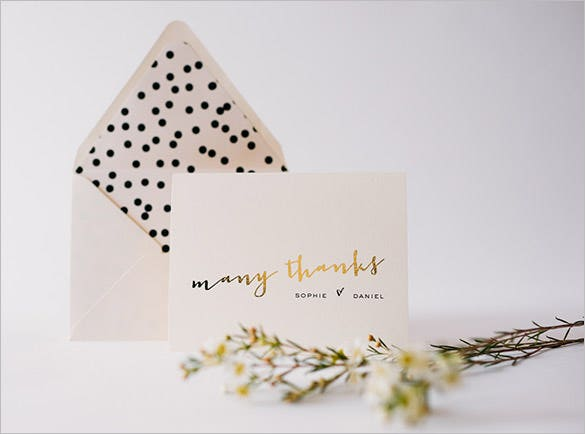 gold foil personalized thank you card