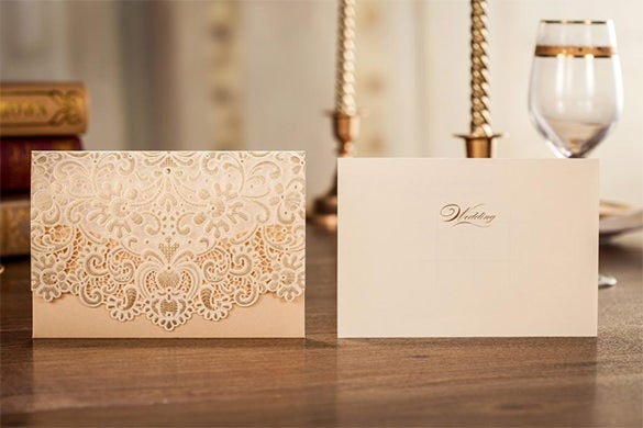 gold lace wedding invitation card template 128