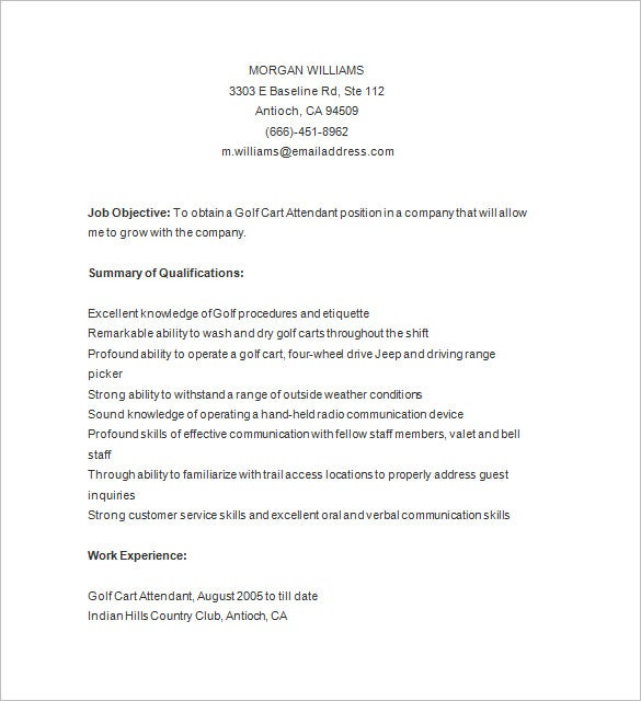 golf caddy fresher resume sample