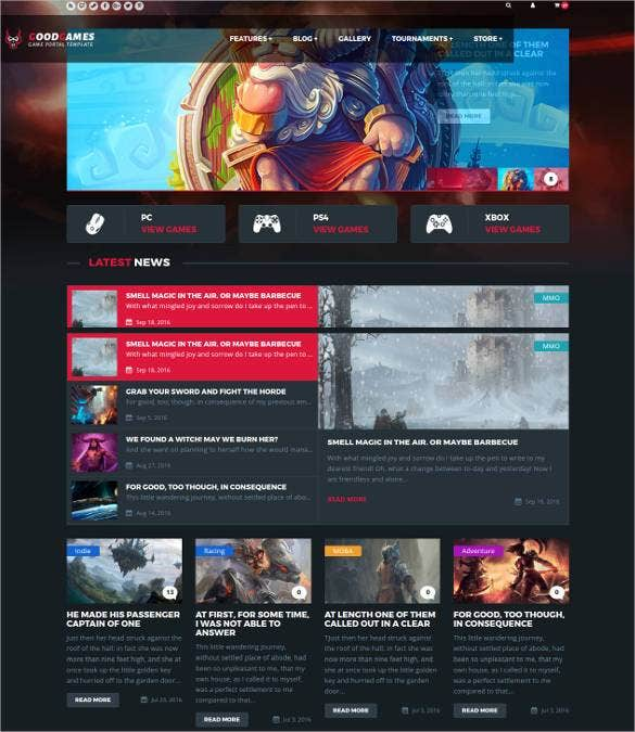 48+ Gaming Website Themes & Templates | Free & Premium Templates